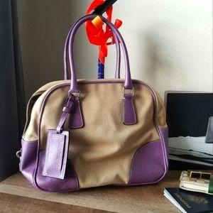 PRADA Beautiful Purple Tan Hand bag